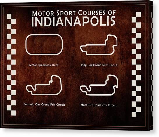 Nascar Canvas Print - Indianapolis Courses by Mark Rogan