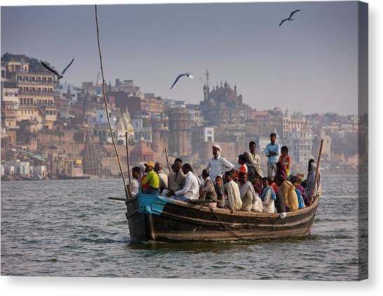 Indians Cruising River Ganges Canvas Print by Tim Graham