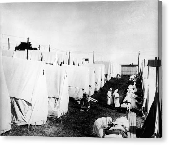 Influenza Epidemic Tent Hospital Camp Canvas Print by Hulton Archive