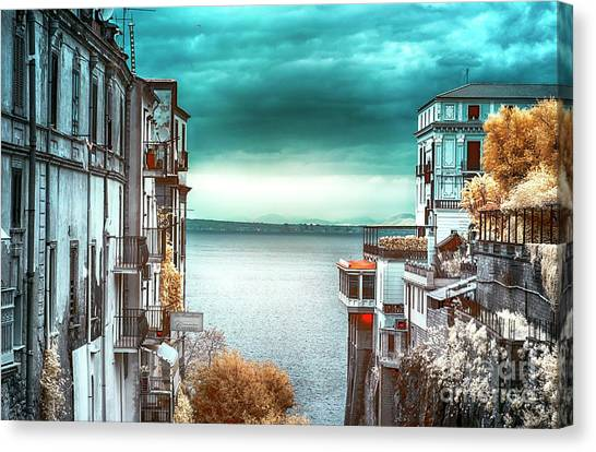 Infrared Bay Of Naples View Canvas Print by John Rizzuto