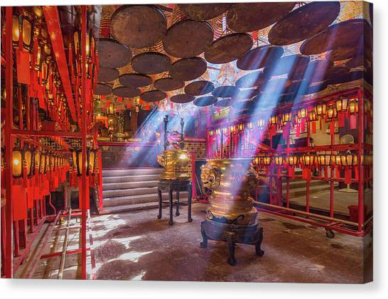 Inside The Man Mo Temple,hong Kong Canvas Print by Photography By Sanchai Loongroong