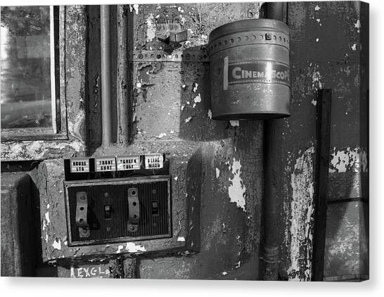 Canvas Print featuring the photograph Inside The Projection Room - Bw by Kristia Adams
