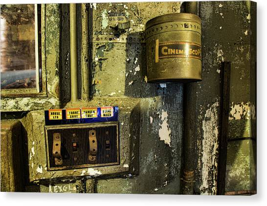 Canvas Print featuring the photograph Inside The Projector Room by Kristia Adams