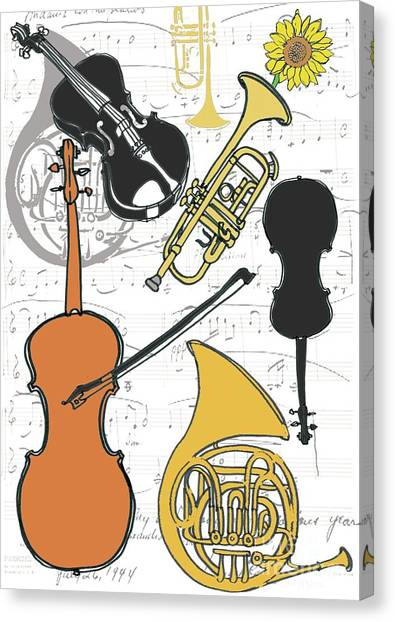 Yellow Trumpet Canvas Print - Instruments by Anna Platts