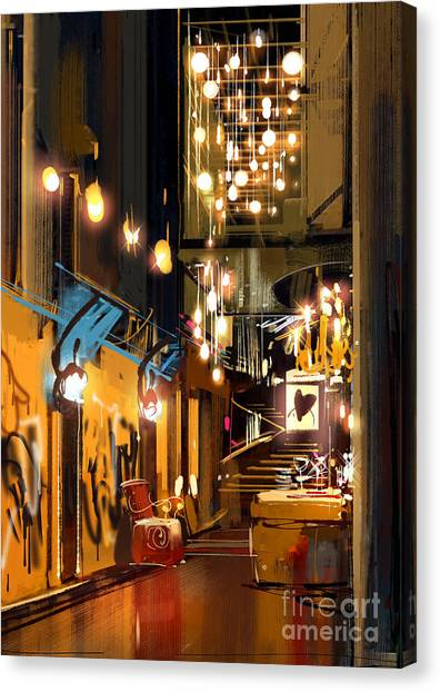 Acrylic Canvas Print - Interior Of Hallway With Decorative by Tithi Luadthong