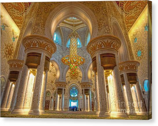 Worship Canvas Print - Interior Of Shiekh Zayed Mosque by Naufal Mq