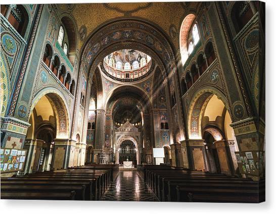 Canvas Print featuring the photograph Interior Of The Votive Cathedral, Szeged, Hungary by Milan Ljubisavljevic