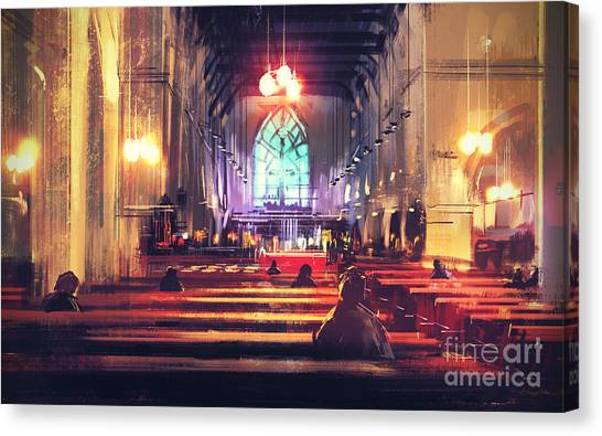 Worship Canvas Print - Interior View Of A Church,digital by Tithi Luadthong