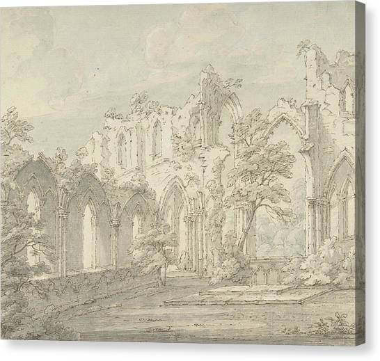 Sunderland Canvas Print - Interior View Of Fountains Abbey, Yorkshire by Thomas Sunderland