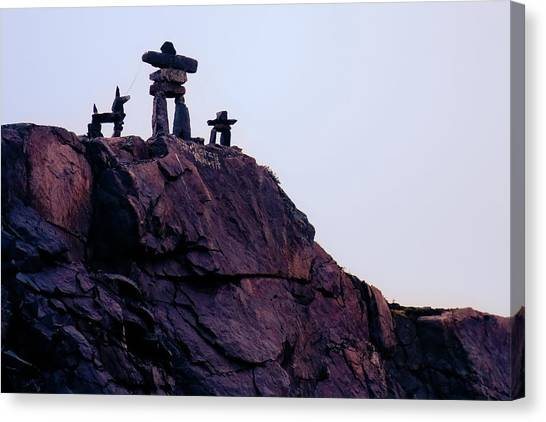 Canvas Print featuring the photograph Inukshuk Family In Labrador, Canada by Tatiana Travelways