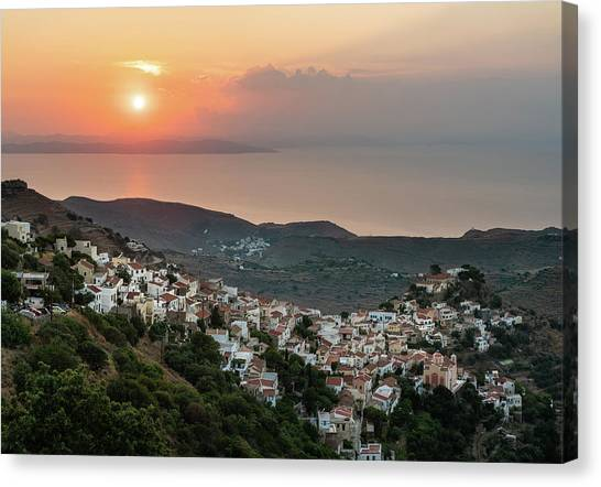 Canvas Print featuring the photograph Ioulis Town Sunset, Kea by Milan Ljubisavljevic