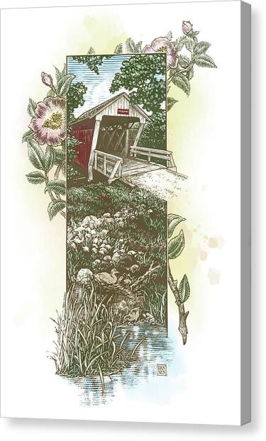 Canvas Print featuring the drawing Iowa Covered Bridge by Clint Hansen