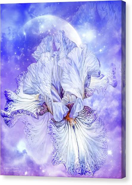 Canvas Print featuring the mixed media Iris - Goddess Of Dreams by Carol Cavalaris