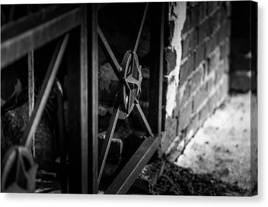 Canvas Print featuring the photograph Iron Gate In Bw by Doug Camara