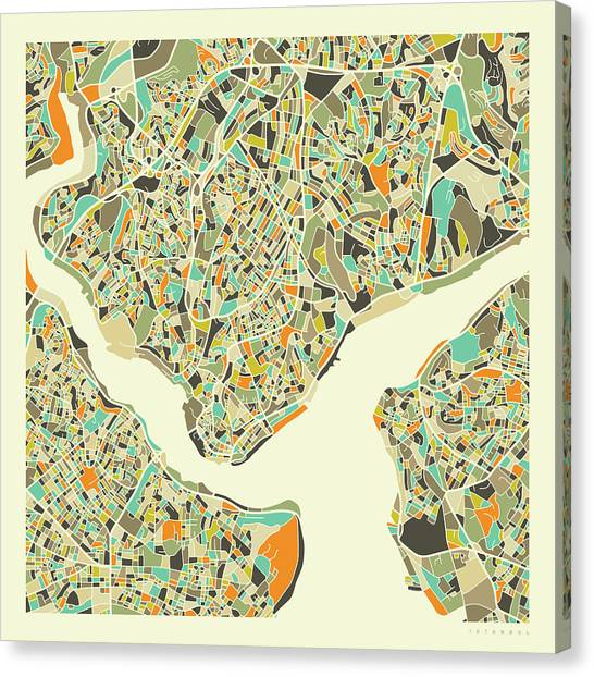 Turkeys Canvas Print - Istanbul Map 1 by Jazzberry Blue