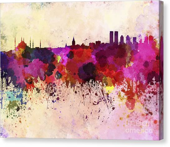 Monument Canvas Print - Istanbul Skyline In Watercolor by Cristina Romero Palma