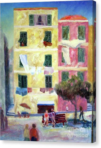 Italian Piazza With Laundry Canvas Print