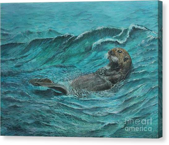 It's My Otter Day Off.....sea Otter Canvas Print