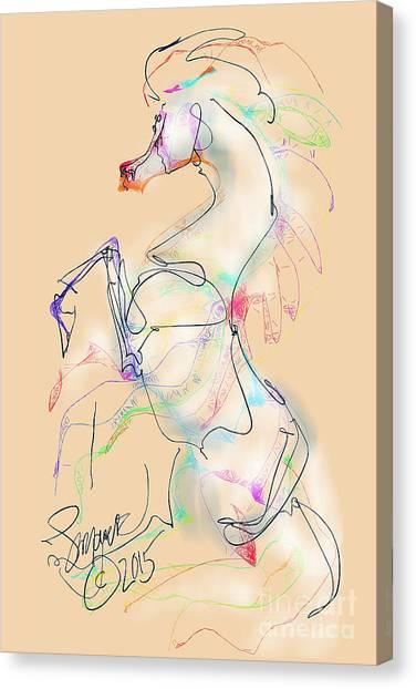 Ivory Horse Rising Canvas Print
