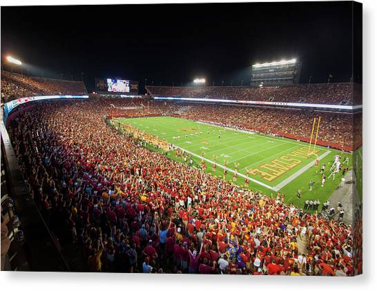 Iowa State University Canvas Print - Jack Trice Stadium Crowded At Night by Filip Hellman