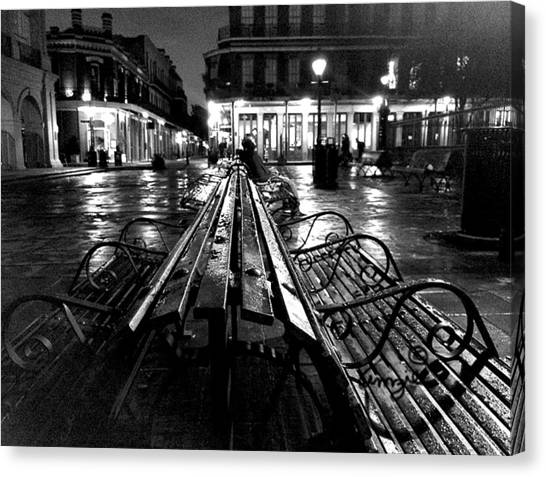 Canvas Print featuring the photograph Jackson Square In The Rain by Amzie Adams