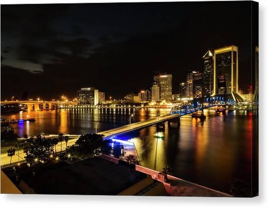 Jacksonville Skyline By Night Canvas Print