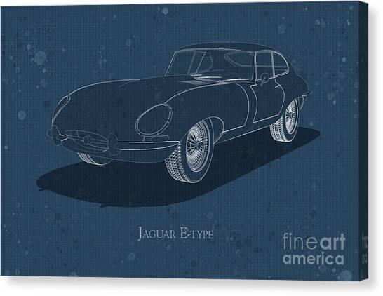 Jaguar E-type - Front View - Stained Blueprint Canvas Print