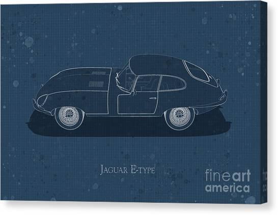 Jaguar E-type - Side View - Stained Blueprint Canvas Print