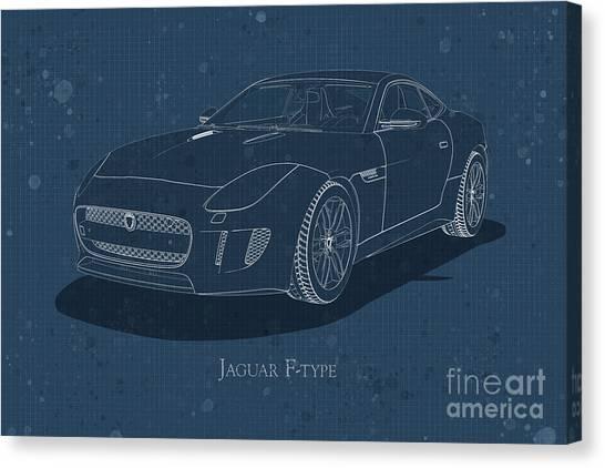 Jaguar F-type - Front View - Stained Blueprint Canvas Print