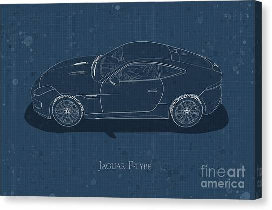Jaguar F-type - Side View - Stained Blueprint Canvas Print