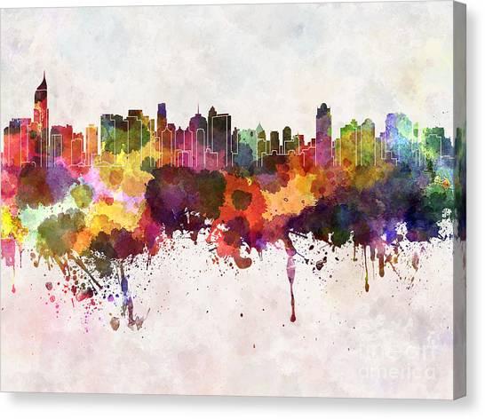 Monument Canvas Print - Jakarta Skyline In Watercolor Background by Cristina Romero Palma