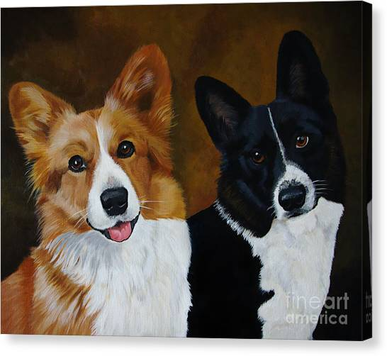 James And Joy Custom Portrait Painting Canvas Print