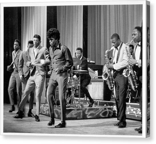 James Brown And Famous Flames At The Canvas Print by Michael Ochs Archives