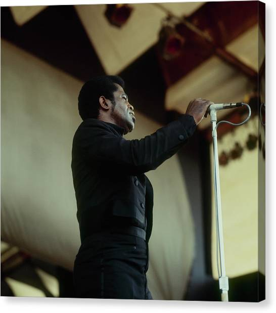 James Brown Performs At Newport Canvas Print by David Redfern