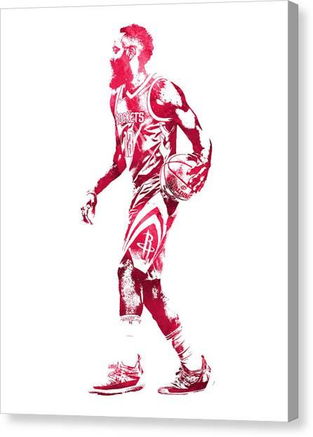 Houston Rockets Canvas Print - James Harden Houston Rockets Water Color Pixel Art 4 by Joe Hamilton