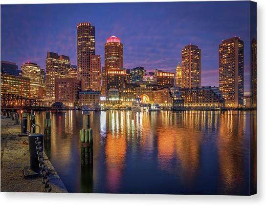 January Sunset At Fan Pier Canvas Print