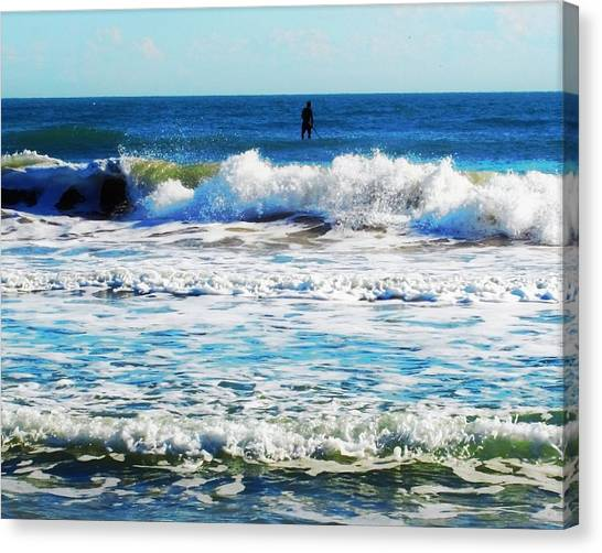 Canvas Print - January Surfing At Cocoa Beach by Mindy Newman