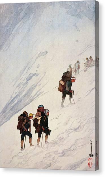 Ice Climbing Canvas Print - Japan Alps 12scenes, Climbing A Snow Valley At Harinoki - Digital Remastered Edition by Yoshida Hiroshi