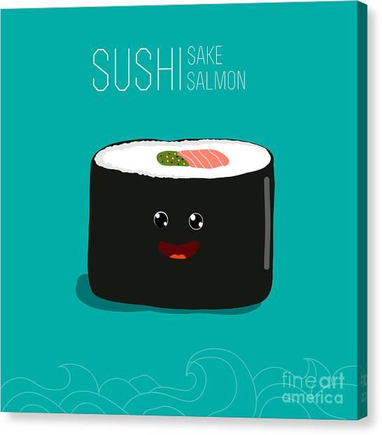 Ingredient Canvas Print - Japanese Food - Sushi. Vector Cartoon by Wild0wild