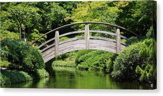 Japanese Garden Arch Bridge In Springtime Canvas Print