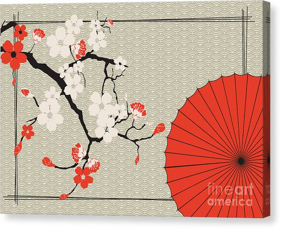 Japanese Gardens Canvas Print - Japanese Umbrella And Japanese Cherry - by Artbox