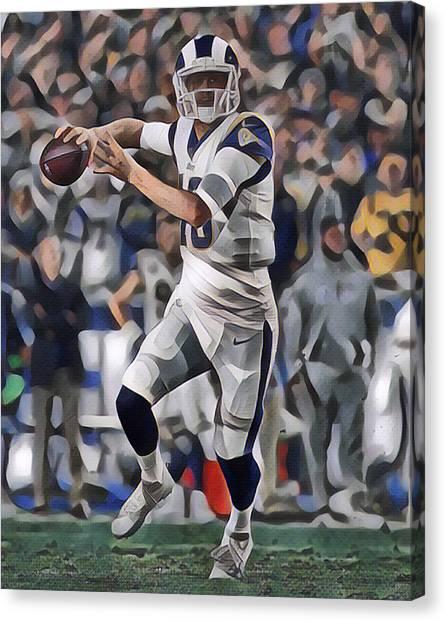Los Angeles Rams Canvas Print - Jared Goff Los Angeles Rams Abstract Art 1 by Joe Hamilton
