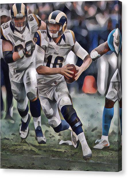 Los Angeles Rams Canvas Print - Jared Goff Los Angeles Rams Abstract Art 2 by Joe Hamilton
