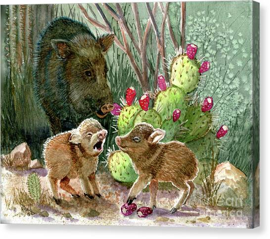 Canvas Print - Javelina Babies And Mom by Marilyn Smith