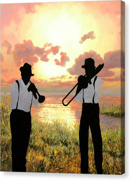 Trombones Canvas Print - Jazz Al Tramonto by Guido Borelli