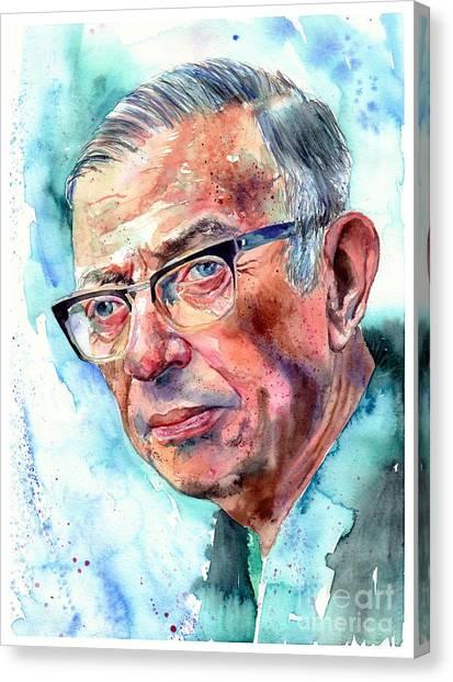 Nobel Canvas Print - Jean-paul Sartre Portrait by Suzann Sines