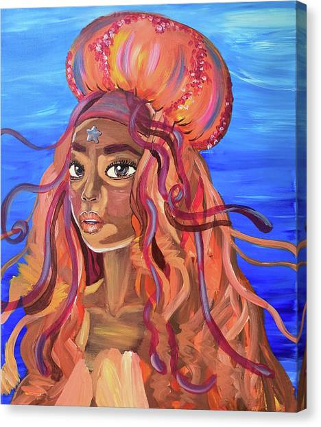 Canvas Print featuring the painting Jellyfish Queen by Audrey Everett