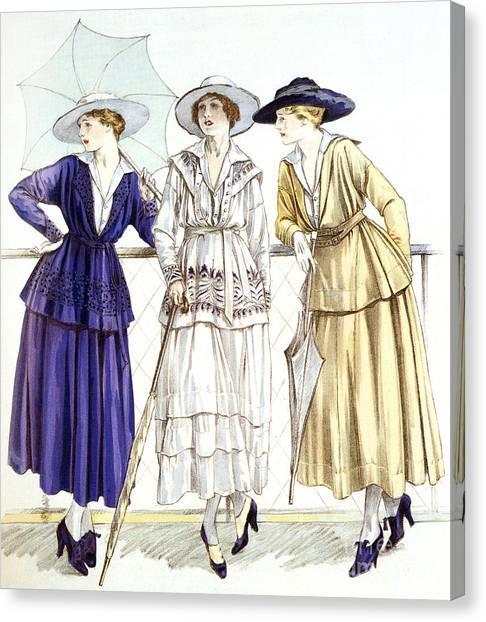 Fashion Plate Canvas Print - Jersey Suit, Models By Gabrielle Chanel Published In Magazine Les Elegances Parisiennes, March 1917 by French School