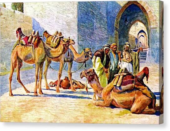 Binders Canvas Print - Jerusalem Camels Attendants by Munir Alawi