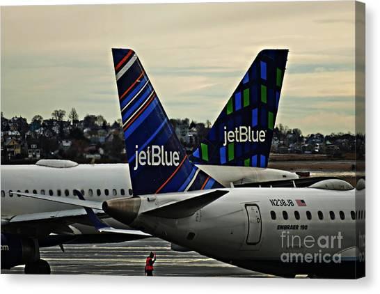 Jetblue Canvas Print - Jetblue Crossing   by Sarah Loft